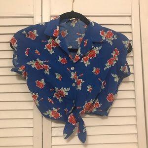 Hawaiian Print Button Up Crop Top